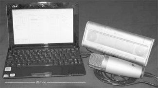 An example of some hardware and I/O devices (a netbook, microphone, and speakers) used by the application to execute the scheduled events.